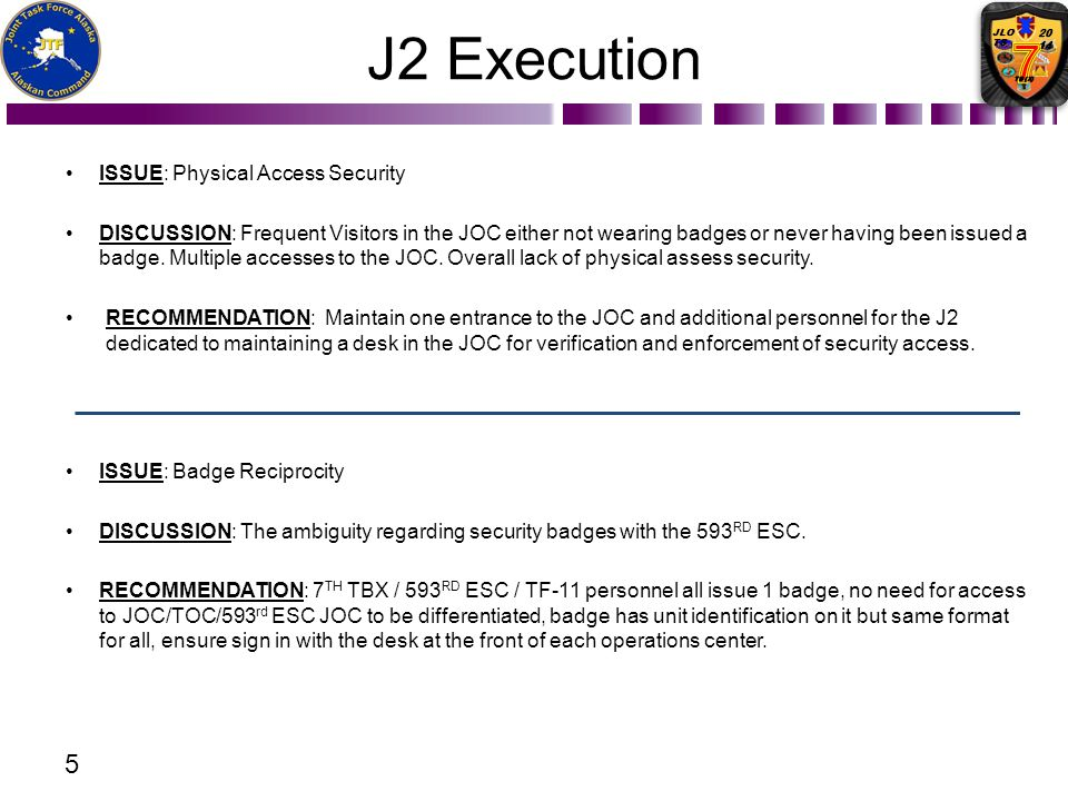 J2 Execution Issue: Physical Access Security