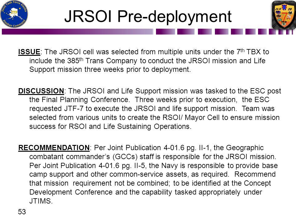 JRSOI Pre-deployment