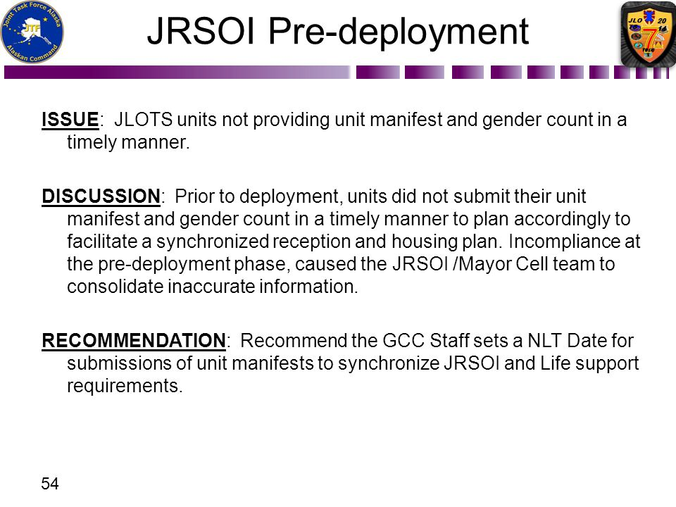 JRSOI Pre-deployment ISSUE: JLOTS units not providing unit manifest and gender count in a timely manner.