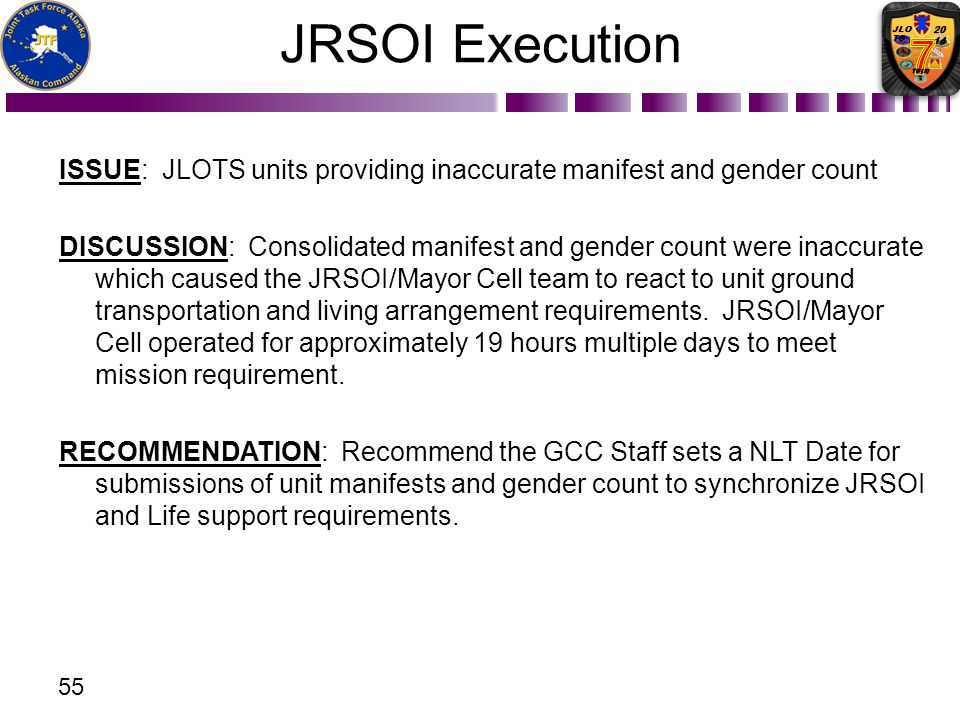 JRSOI Execution ISSUE: JLOTS units providing inaccurate manifest and gender count.