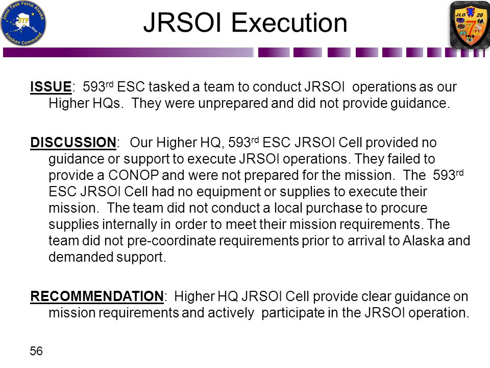 JRSOI Execution ISSUE: 593rd ESC tasked a team to conduct JRSOI operations as our Higher HQs. They were unprepared and did not provide guidance.