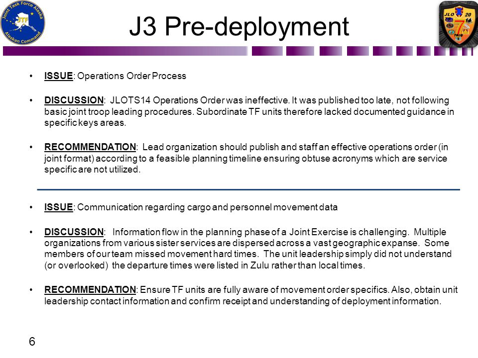 J3 Pre-deployment Issue: Operations Order Process