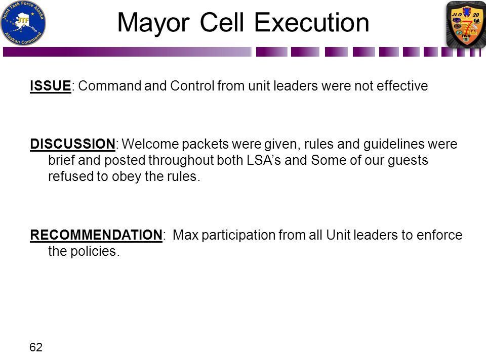 Mayor Cell Execution ISSUE: Command and Control from unit leaders were not effective.