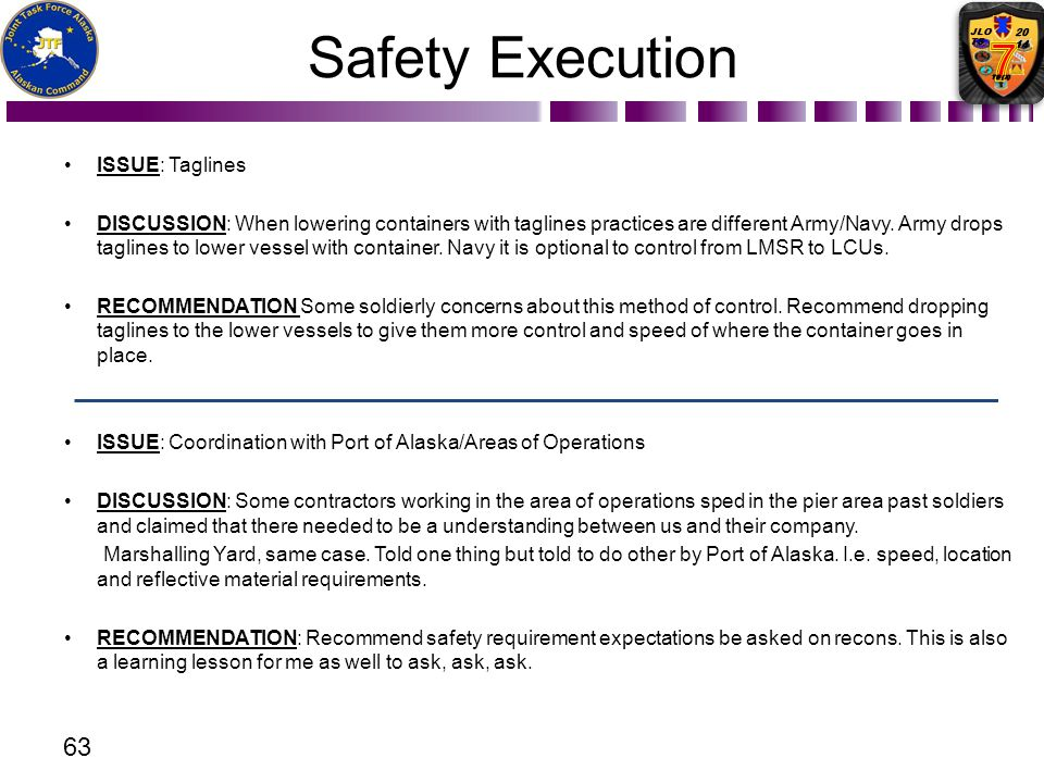 Safety Execution ISSUE: Taglines