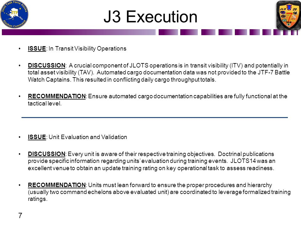 J3 Execution Issue: In Transit Visibility Operations