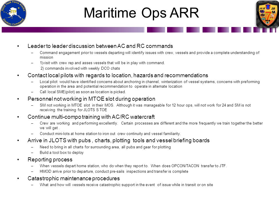Maritime Ops ARR Leader to leader discussion between AC and RC commands.