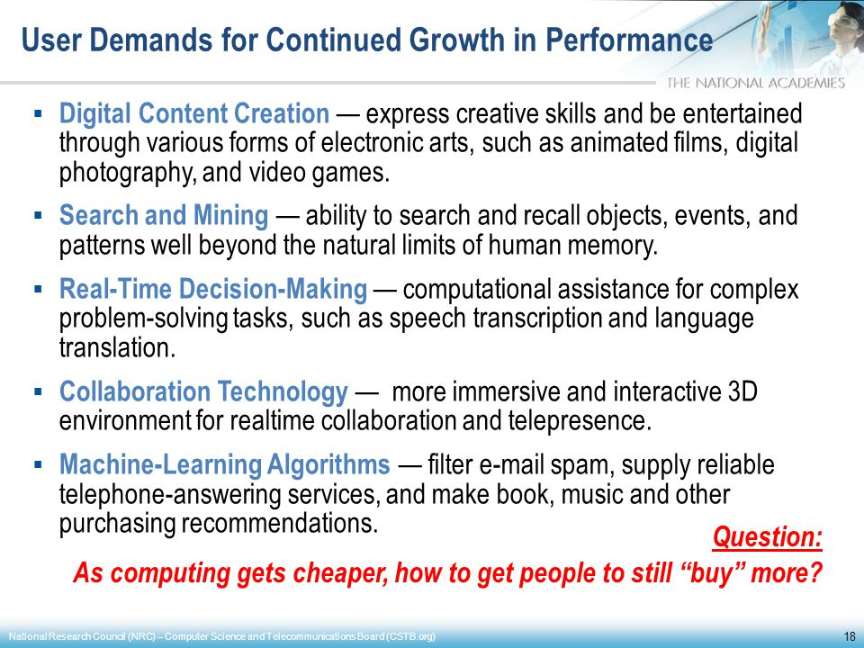 User Demands for Continued Growth in Performance