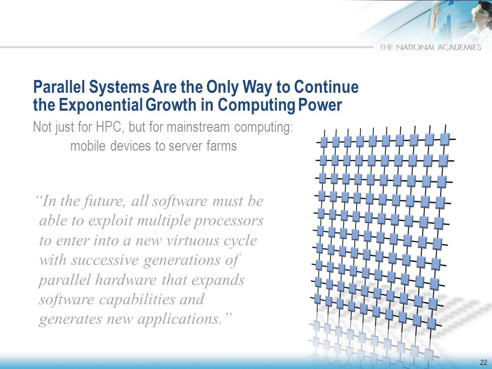 Parallel Systems Are the Only Way to Continue the Exponential Growth in Computing Power