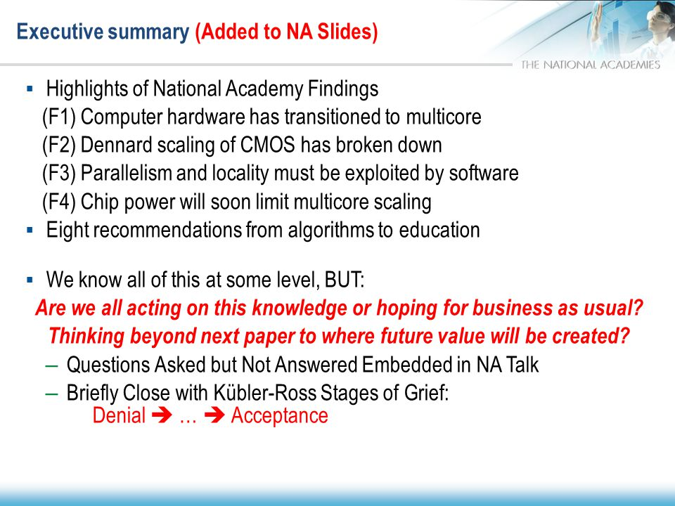 Executive summary (Added to NA Slides)