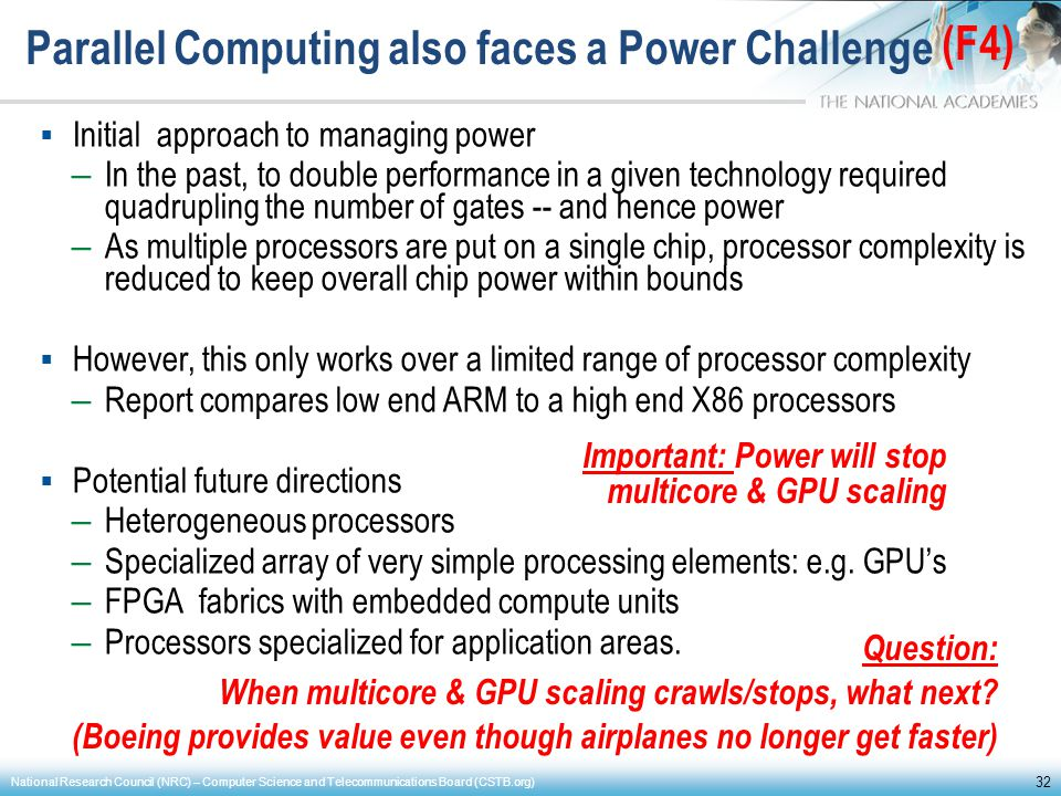 Parallel Computing also faces a Power Challenge