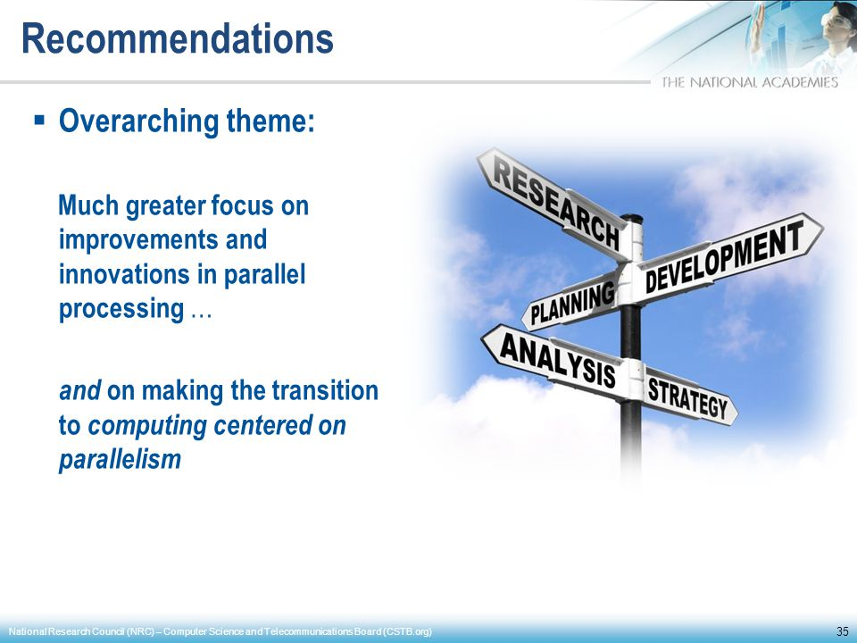 Recommendations Overarching theme: