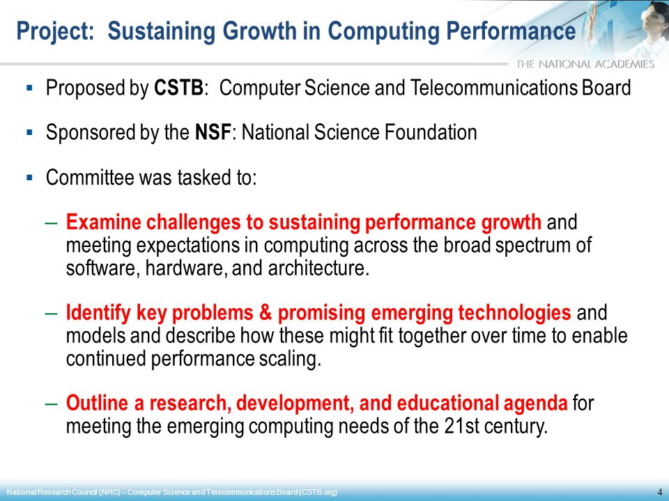 Project: Sustaining Growth in Computing Performance