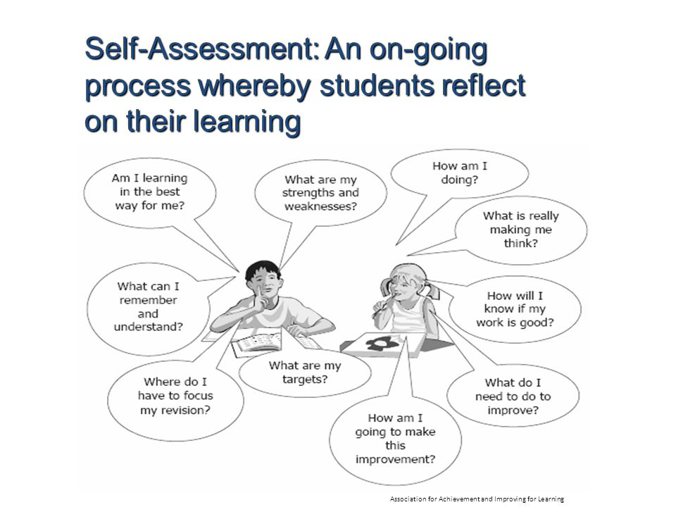 Self-Assessment: An on-going process whereby students reflect on their learning