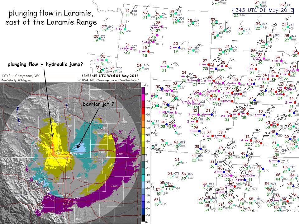 plunging flow in Laramie, east of the Laramie Range