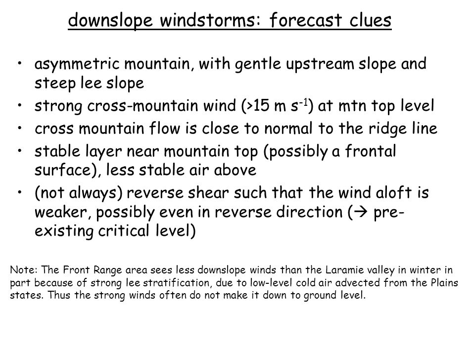 downslope windstorms: forecast clues