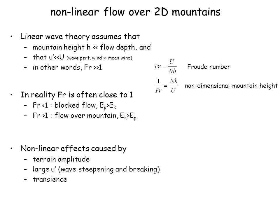 non-linear flow over 2D mountains