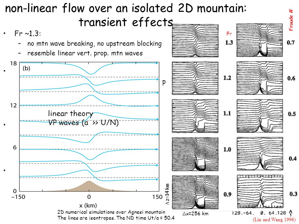 non-linear flow over an isolated 2D mountain: transient effects
