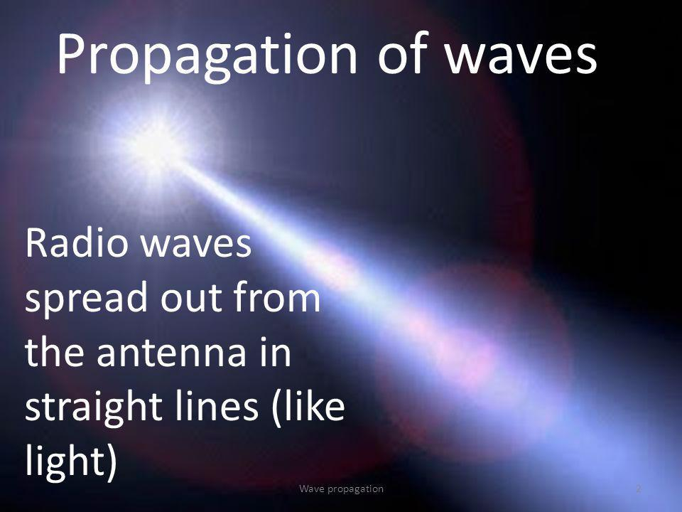 Propagation of waves Radio waves spread out from the antenna in straight lines (like light) Wave propagation.
