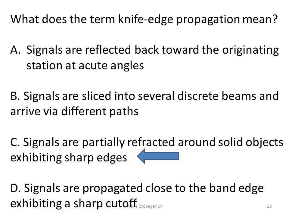 What does the term knife-edge propagation mean