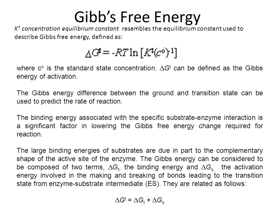 Gibb's Free Energy K‡ concentration equilibrium constant resembles the equilibrium constant used to describe Gibbs free energy, defined as: