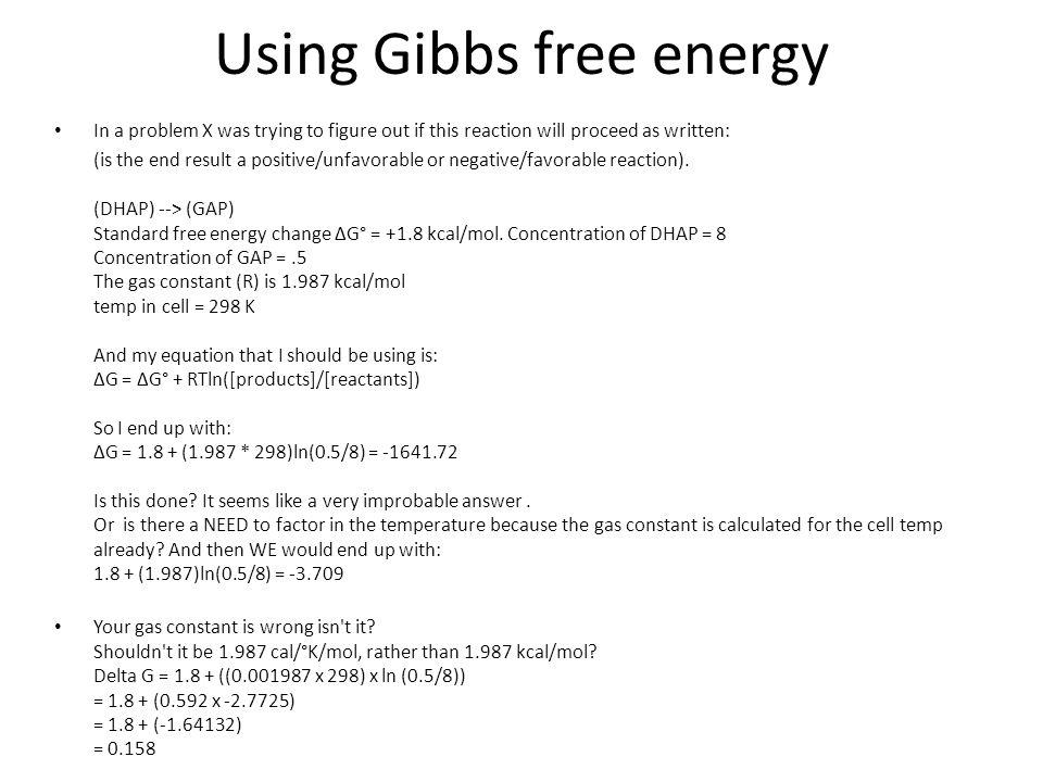 Using Gibbs free energy
