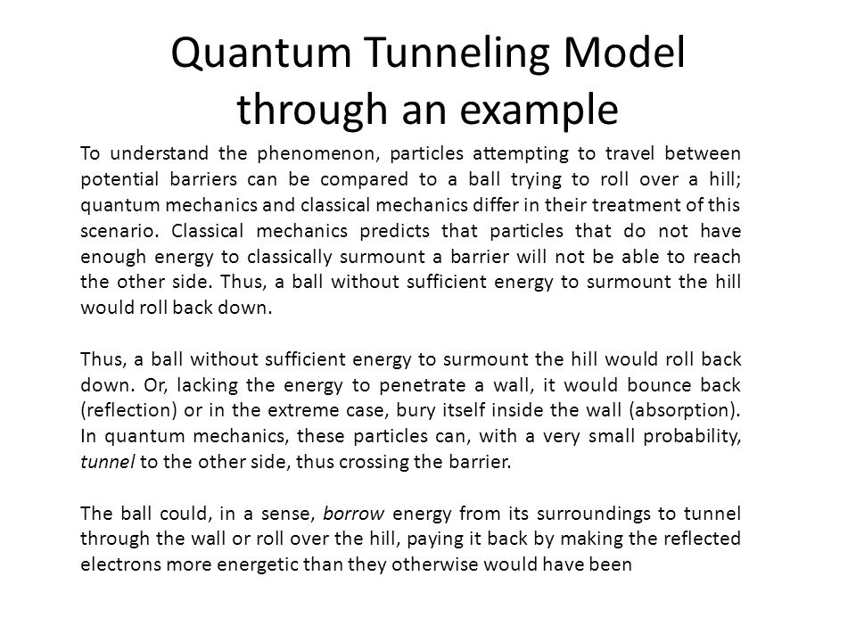 Quantum Tunneling Model through an example