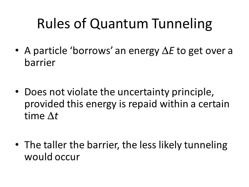 Rules of Quantum Tunneling