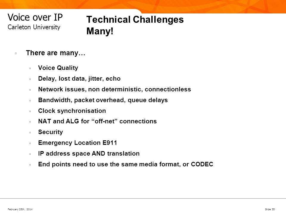 Technical Challenges Many!