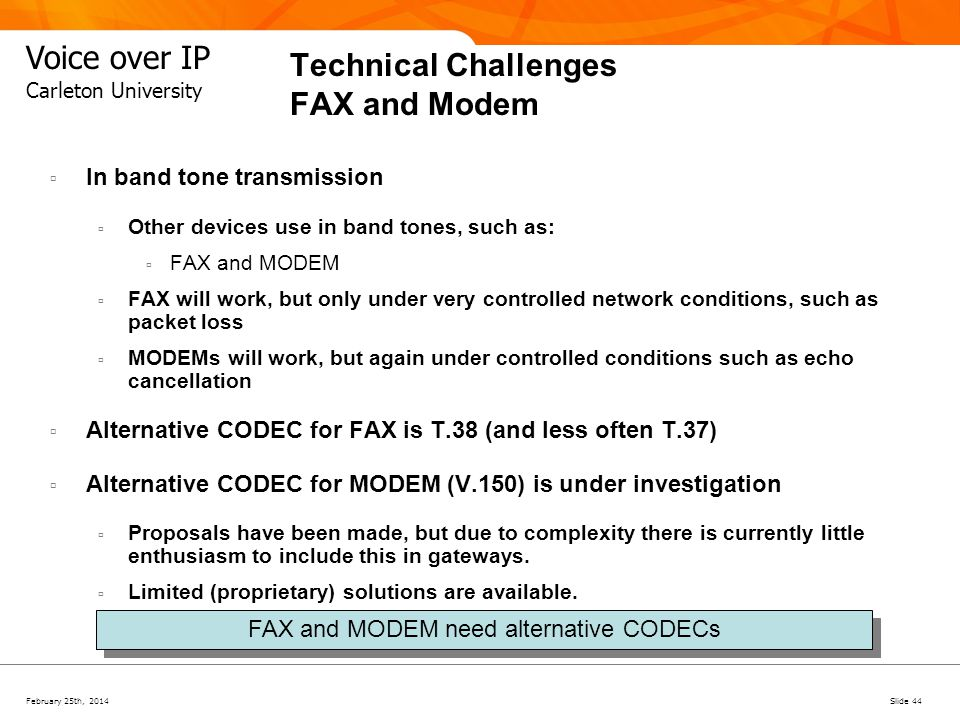 Technical Challenges FAX and Modem