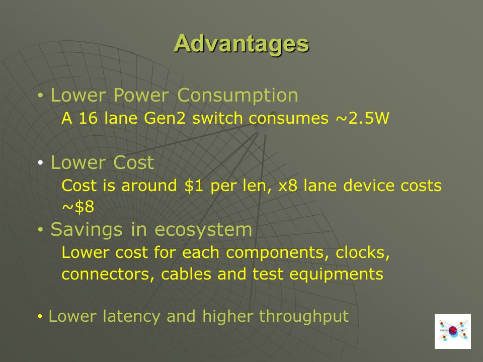 Advantages Lower Power Consumption Lower Cost Savings in ecosystem