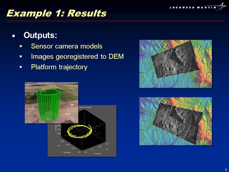Example 1: Results Outputs: Sensor camera models
