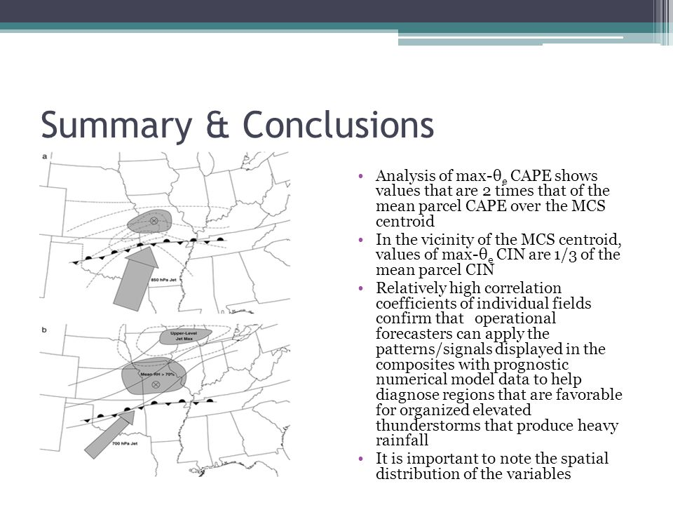 Summary & Conclusions Analysis of max-θe CAPE shows values that are 2 times that of the mean parcel CAPE over the MCS centroid.