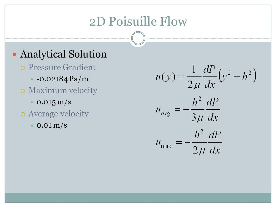 2D Poisuille Flow Analytical Solution Pressure Gradient