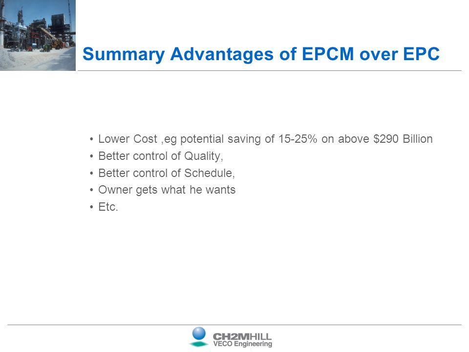 Summary Advantages of EPCM over EPC