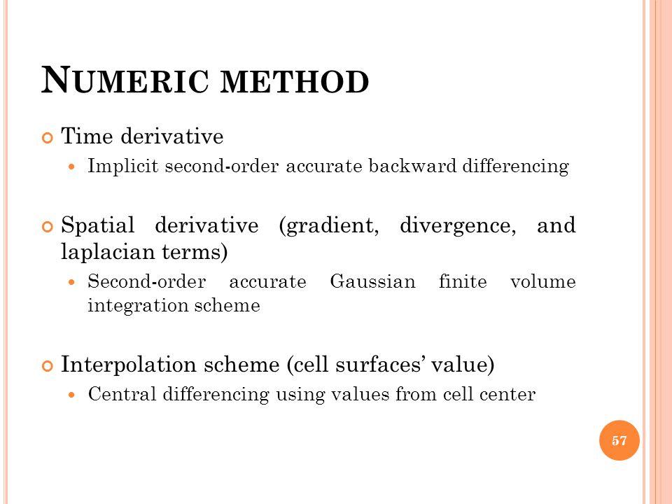 Numeric method Time derivative