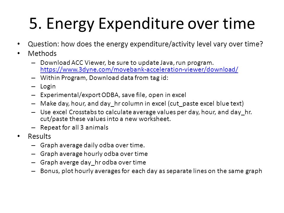 5. Energy Expenditure over time