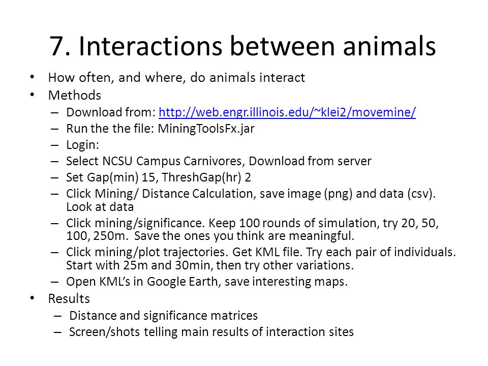 7. Interactions between animals