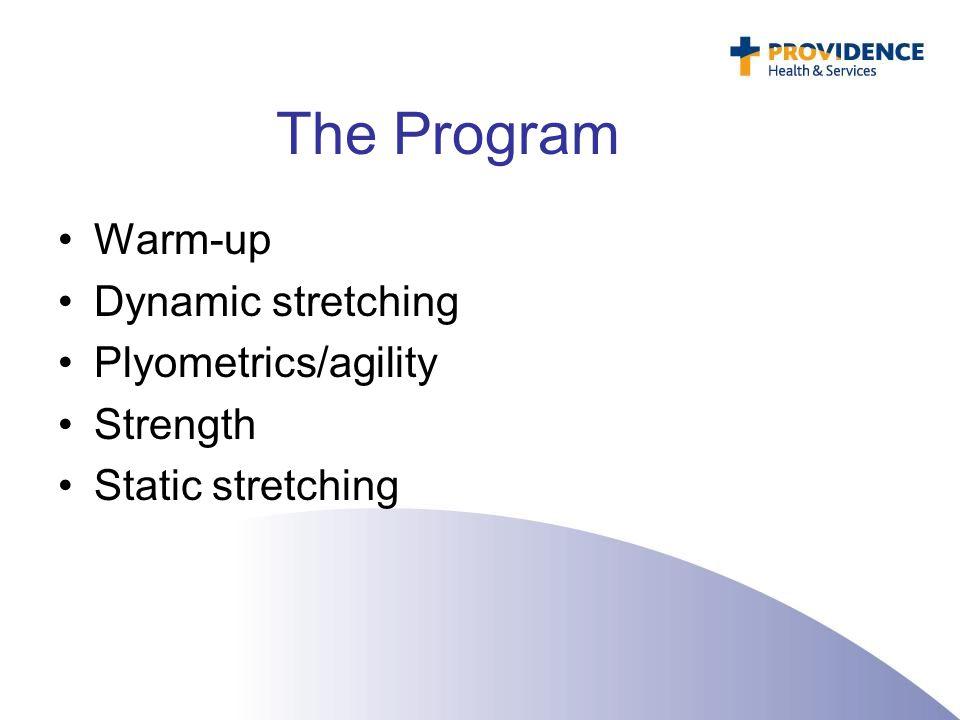 The Program Warm-up Dynamic stretching Plyometrics/agility Strength