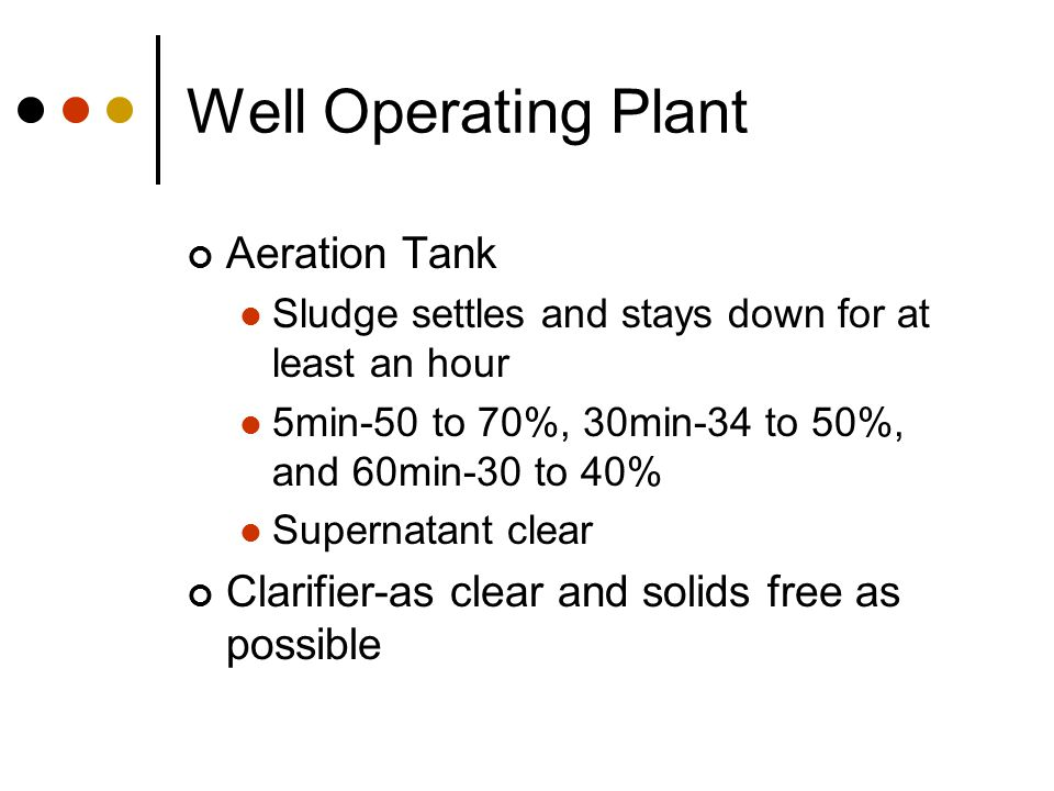 Well Operating Plant Aeration Tank