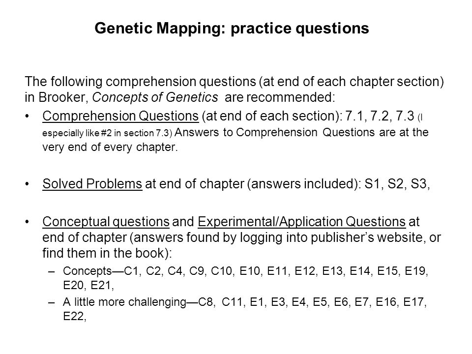 Genetic Mapping: practice questions