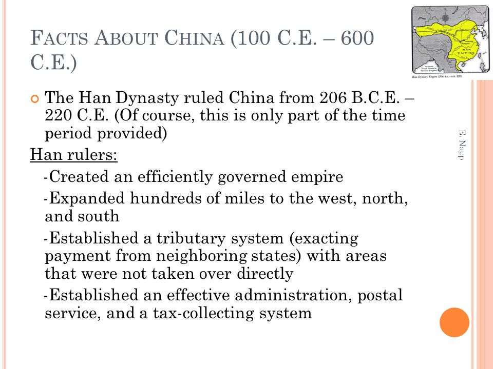 Facts About China (100 C.E. – 600 C.E.)