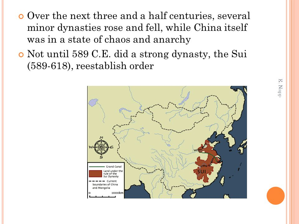 Over the next three and a half centuries, several minor dynasties rose and fell, while China itself was in a state of chaos and anarchy