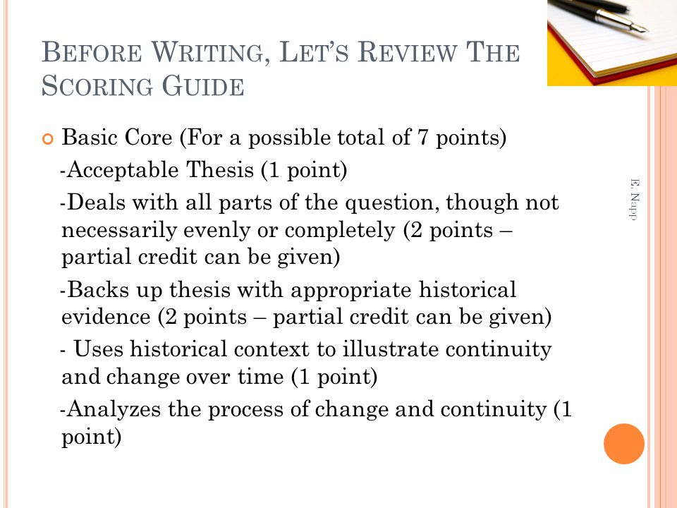 Before Writing, Let's Review The Scoring Guide