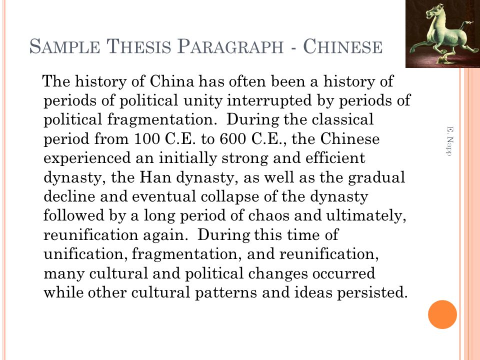 Sample Thesis Paragraph - Chinese