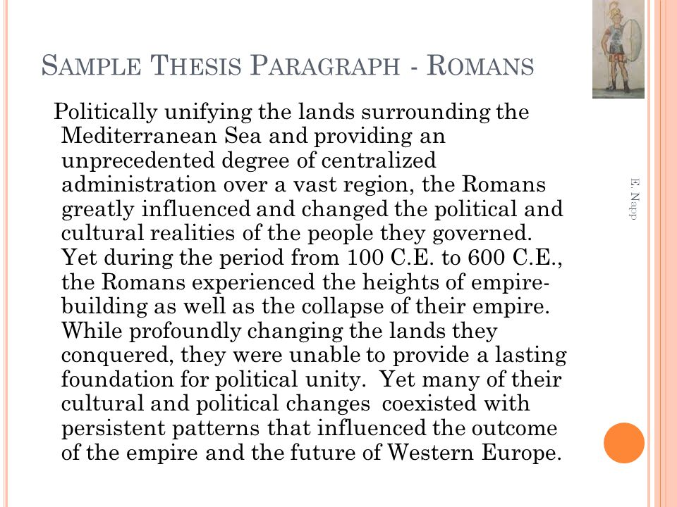Sample Thesis Paragraph - Romans