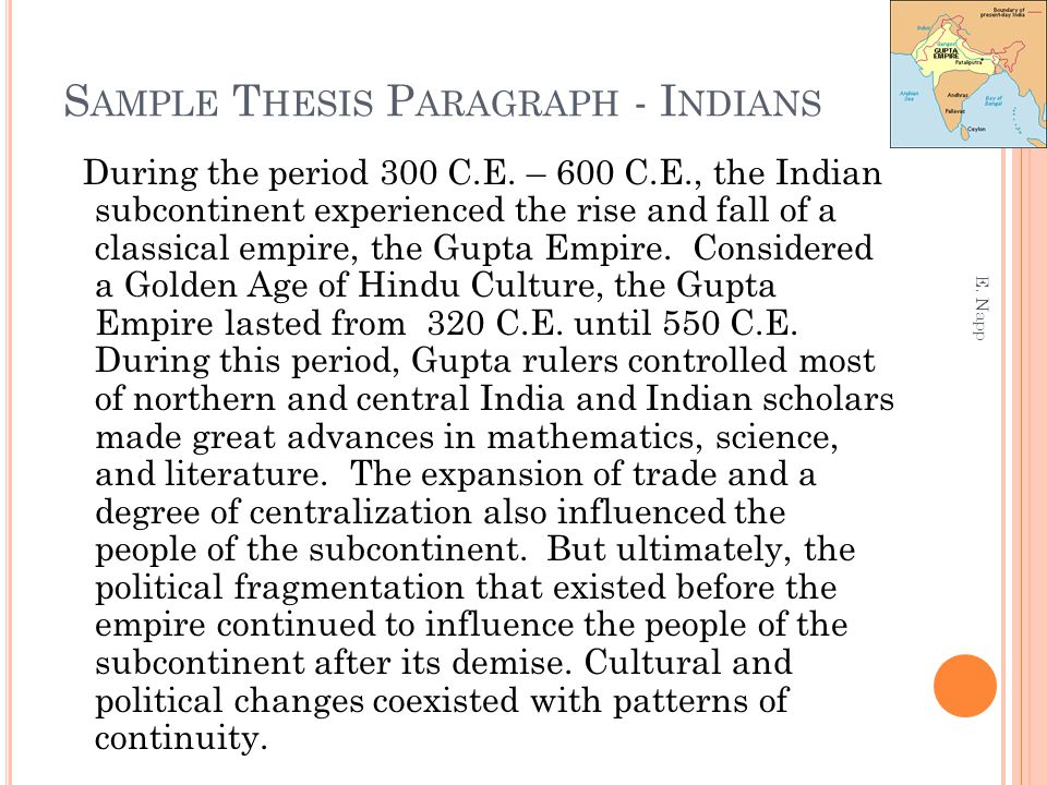 Sample Thesis Paragraph - Indians