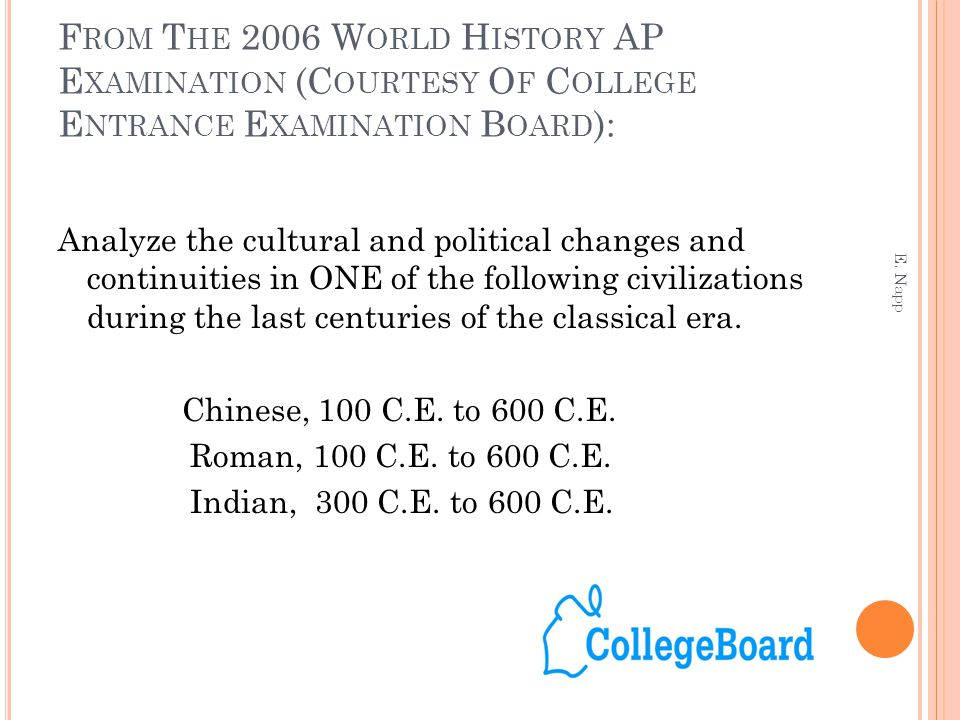 ap world history 2006 essay Chapter outlines chapter outlines from traditions and encounters: a global perspective on the past, 3rd edition to help you review what you've read, chapter-by-chapter use this information to ace your ap world history quizzes and te.