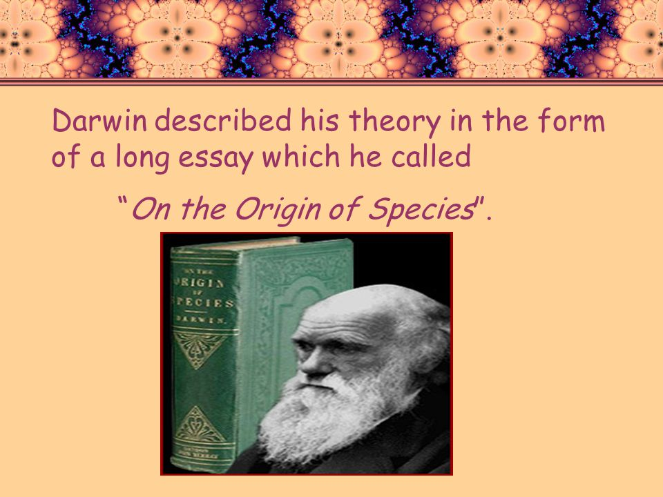 Darwin described his theory in the form of a long essay which he called