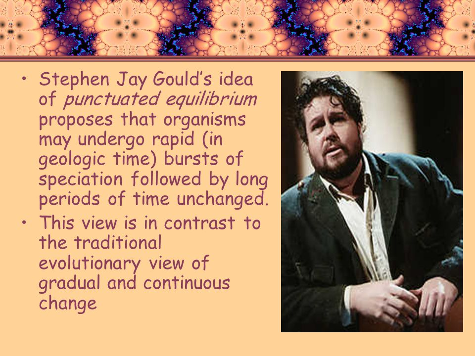 Stephen Jay Gould's idea of punctuated equilibrium proposes that organisms may undergo rapid (in geologic time) bursts of speciation followed by long periods of time unchanged.