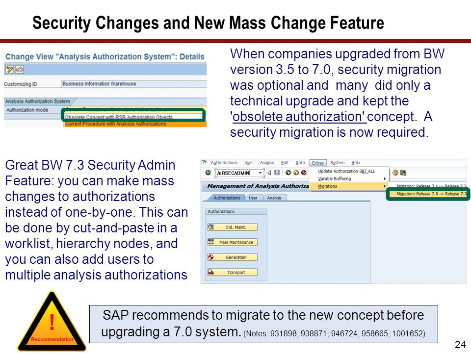 Security features in BW 7.0 and 7.3